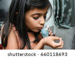 young indian girl   kid ... | Shutterstock . vector #660118693