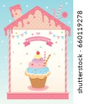 rainbow cupcake decorated in... | Shutterstock .eps vector #660119278