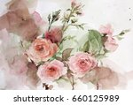 still life watercolor painting. ... | Shutterstock . vector #660125989