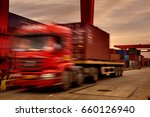 container truck for port... | Shutterstock . vector #660126940