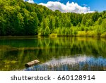 mountain lake among the green forest in picturesque springtime landscape. reflection in crystal clear water. beautiful weather with blue sky and some clouds - stock photo