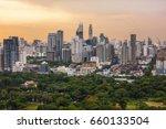 lumpini park and bangkok city... | Shutterstock . vector #660133504