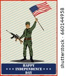 army man on 4th of july happy... | Shutterstock .eps vector #660144958