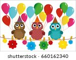 three lovely owls sit on a rope ... | Shutterstock .eps vector #660162340