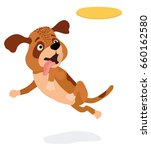 cartoon dog playing with yellow ... | Shutterstock .eps vector #660162580