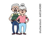 old couple with hairstyle and... | Shutterstock .eps vector #660164080
