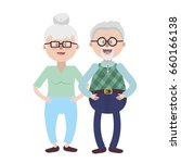 old couple with hairstyle and... | Shutterstock .eps vector #660166138