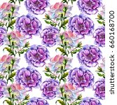 wildflower peony flower pattern ... | Shutterstock . vector #660168700