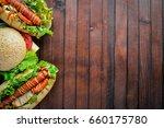 hot dog and hamburger with...