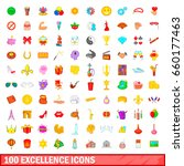 100 excellence icons set in... | Shutterstock . vector #660177463