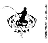 fisherman with a fishing rod... | Shutterstock .eps vector #660188833
