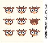 set funny cow different emotion.... | Shutterstock .eps vector #660192760