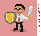 african businessman with sword... | Shutterstock .eps vector #660196210