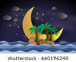 the island in the midnight... | Shutterstock .eps vector #660196240