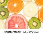 sliced fruits background    Shutterstock . vector #660199963
