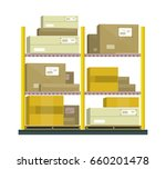 shelf with cartoon box.... | Shutterstock . vector #660201478