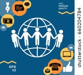earth icon. communication... | Shutterstock .eps vector #660204784