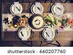elegant restaurant table... | Shutterstock . vector #660207760