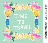 tropical traveling objects... | Shutterstock . vector #660218149