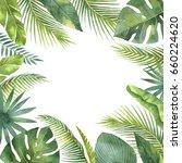 watercolor frame tropical... | Shutterstock . vector #660224620