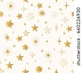 Hand Drawn Golden Stars Patter...