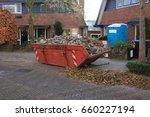 loaded dumpster near a... | Shutterstock . vector #660227194