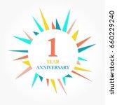 1 year anniversary logo... | Shutterstock .eps vector #660229240
