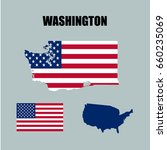 washington map with usa flag | Shutterstock .eps vector #660235069