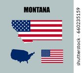montana map with usa flag | Shutterstock .eps vector #660235159