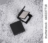 Small photo of Black square blush powder cosmetic. Packaging design template.All clear focus
