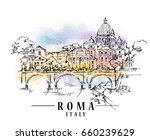 roma sketch on watercolor... | Shutterstock .eps vector #660239629