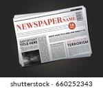 half of newspaper template with ... | Shutterstock .eps vector #660252343