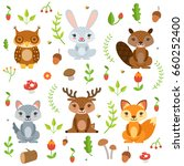 forest animals in cartoon style.... | Shutterstock .eps vector #660252400