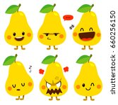 cute vector set of pear  fruit... | Shutterstock .eps vector #660256150