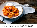 Baked Apricots In Bowl. Health...