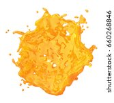 a splash of orange juice. 3d... | Shutterstock . vector #660268846
