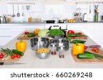 fresh vegetables and utensils... | Shutterstock . vector #660269248