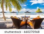 beach bar and loungers with sun ... | Shutterstock . vector #660270568