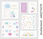 cute cards with gold glitter... | Shutterstock .eps vector #660274270