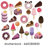 set of delicious sweets and... | Shutterstock .eps vector #660280840