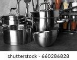 utensils for cooking classes on ... | Shutterstock . vector #660286828