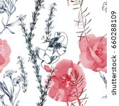 watercolor wilds grass and pink ... | Shutterstock . vector #660288109