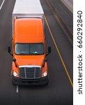 orange semi truck with chrome... | Shutterstock . vector #660292840
