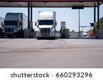 modern big rigs white semi... | Shutterstock . vector #660293296