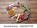 Stock photo pet accessories food toy top view 660294739
