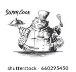 professional chefs cooking.... | Shutterstock .eps vector #660295450