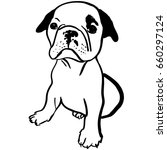 dog bulldog sketch hand drawn ... | Shutterstock .eps vector #660297124