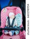 newborn sleeping in car seat... | Shutterstock . vector #660298954