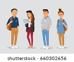 young  people with gadgets and... | Shutterstock .eps vector #660302656