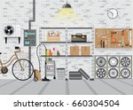 modern interior storage room... | Shutterstock .eps vector #660304504